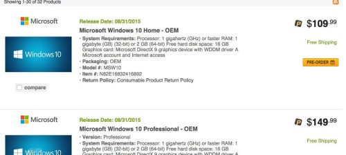 Windows 10 OEM Pricing and Release date spotted on NewEgg