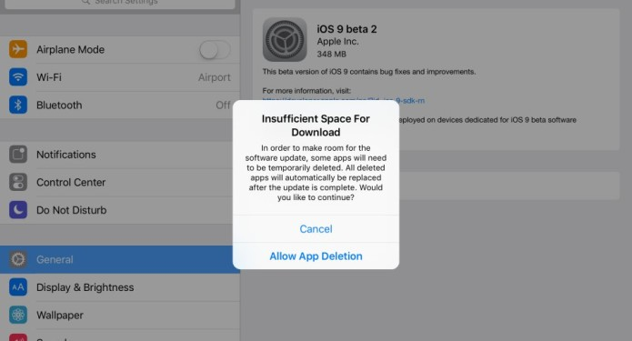 iOS 9 will delete apps to make room for system updates