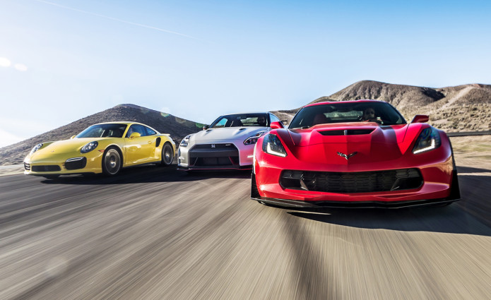 2015 Chevrolet Corvette Z06 vs. 2015 Nissan GT-R NISMO, 2014 Porsche 911 Turbo S - Comparison Tests