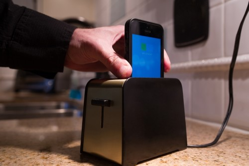 This toaster is actually a charging station for mobile devices