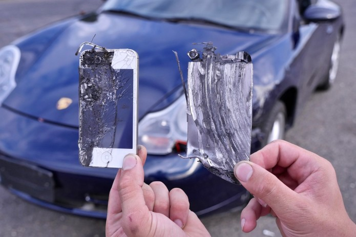 What happens if you replace a Porsche's brake pads with iPhones? Nothing good.