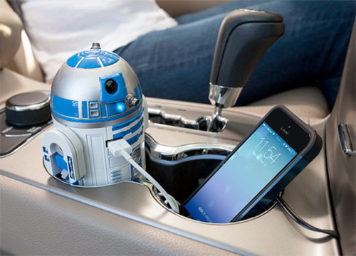 R2-D2 car charger puts the droid in your cupholder
