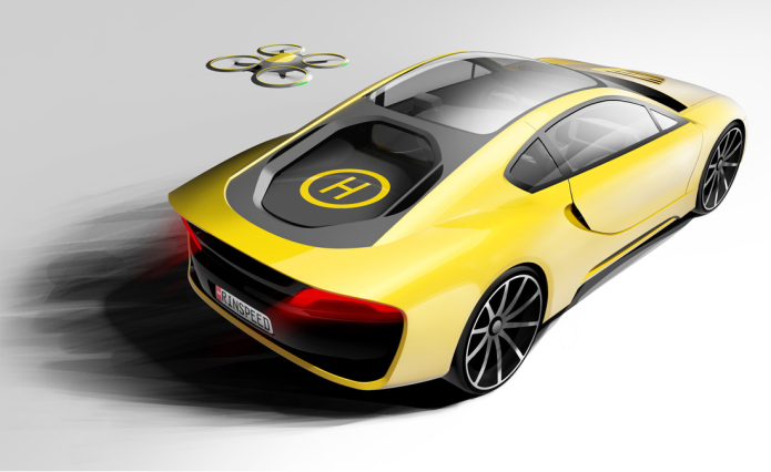 Rinspeed Etos driverless concept car features a drone landing pad