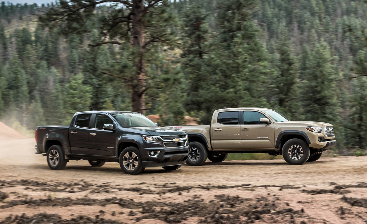 2015 Chevrolet Colorado Lt Crew Cab 4wd Vs 2016 Toyota Ta a Trd Off Road Double Cab 4x4  parison Tests 19648 on toyota hilux car audio system