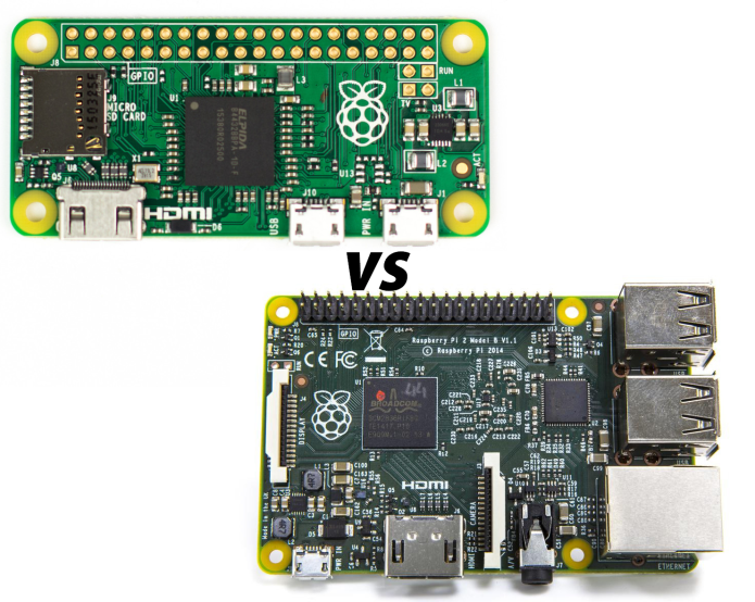Raspberry Pi Zero vs Raspberry Pi 2 Model B