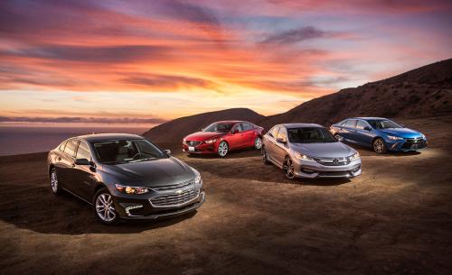2016 Chevrolet Malibu vs. 2016 Honda Accord, 2016 Mazda 6, 2016 Toyota Camry – Comparison Tests