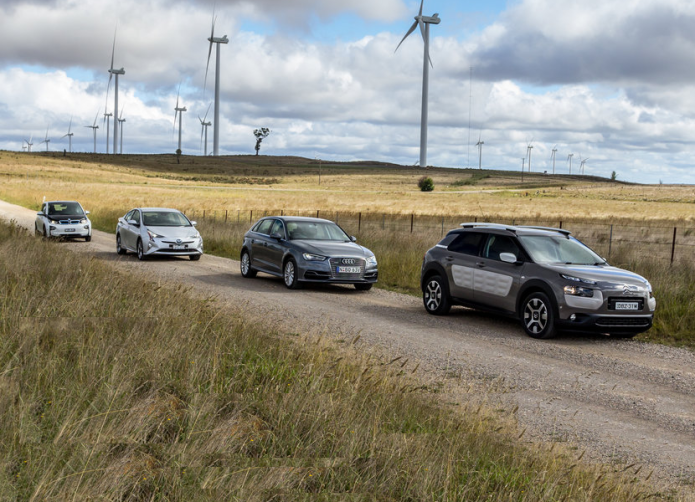 Audi A3 e-tron v BMW i3 v Citroen C4 Cactus v Toyota Prius : Economy comparison test part two