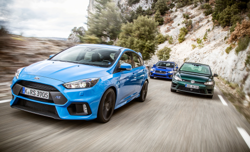 2016 Ford Focus RS vs. 2015 Subaru WRX STI, 2016 Volkswagen Golf R – Comparison Tests