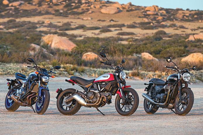 Ducati Scrambler Icon vs. Triumph Street Twin vs. Yamaha FZ-07 - COMPARISON TEST