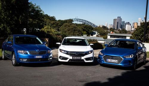 Honda Civic VTi-S v Hyundai Elantra Active v Skoda Octavia Ambition comparison