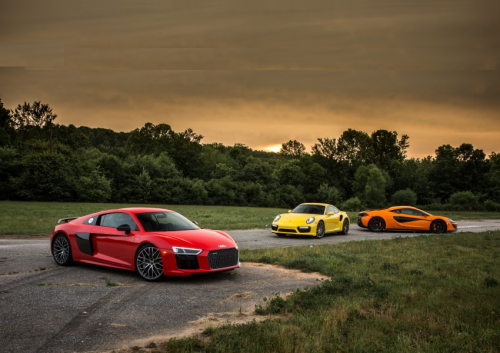 2017 Audi R8 V10 Plus vs. 2016 McLaren 570S, 2017 Porsche 911 Turbo S – Comparison Tests