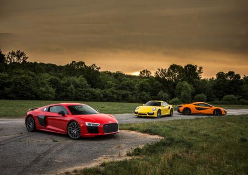 2017 Audi R8 V10 Plus vs. 2016 McLaren 570S, 2017 Porsche 911 Turbo S – Comparison Tests