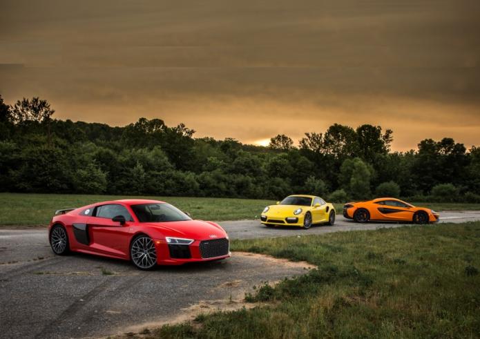 2017 Audi R8 V10 Plus vs. 2016 McLaren 570S, 2017 Porsche 911 Turbo S - Comparison Tests