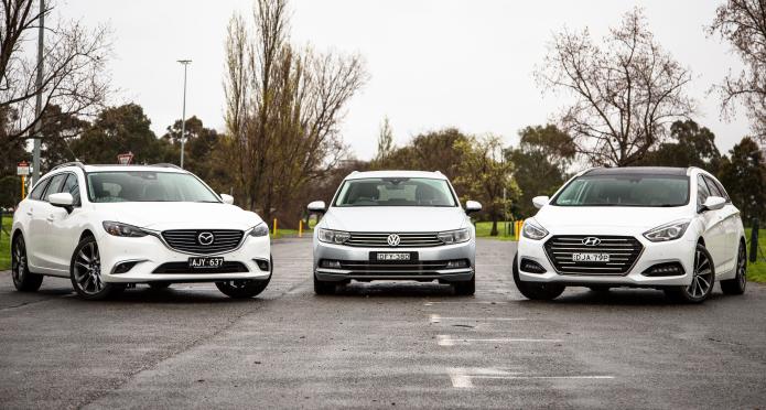 Medium wagon comparison : Hyundai i40 v Mazda 6 v Volkswagen Passat