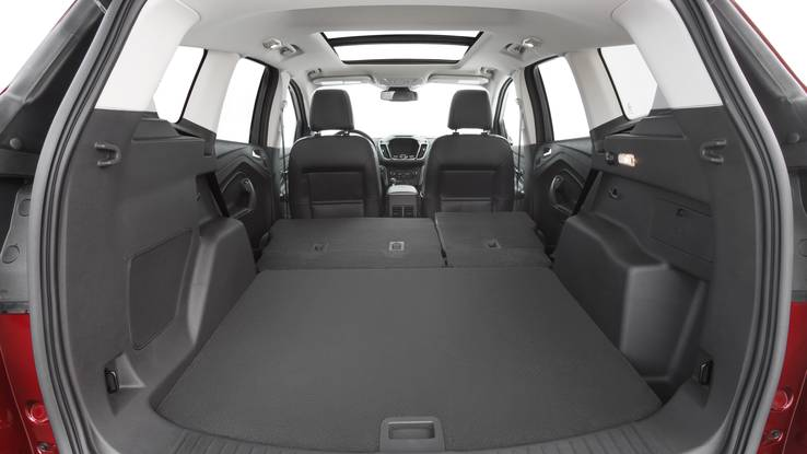 With rear seats folded flat, new Ford Escape offers 68 cubic feet of cargo space.