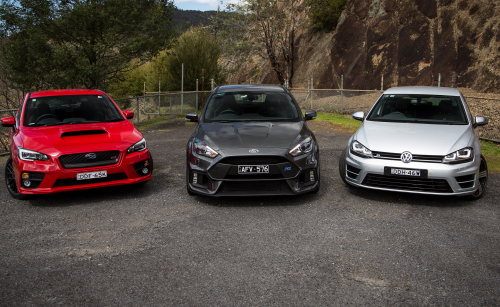 Ford Focus RS v Subaru WRX STI v Volkswagen Golf R Comparison : Road Test