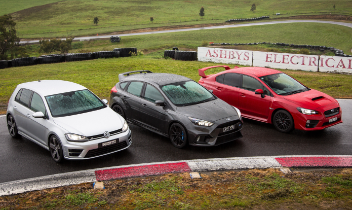 Ford Focus RS v Subaru WRX STI v Volkswagen Golf R Comparison : Track Test