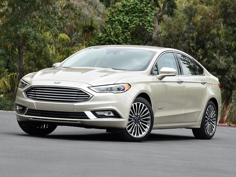 2017 Ford Fusion Hybrid Anium White Gold Front