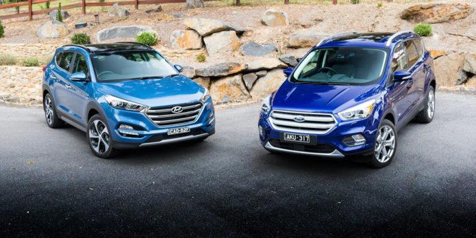 Ford Escape Titanium v Hyundai Tucson Highlander petrol SUV comparison