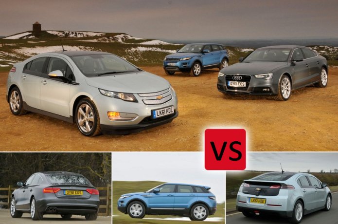 Used Audi A5 Sportback vs Chevrolet Volt vs Range Rover Evoque Comparison