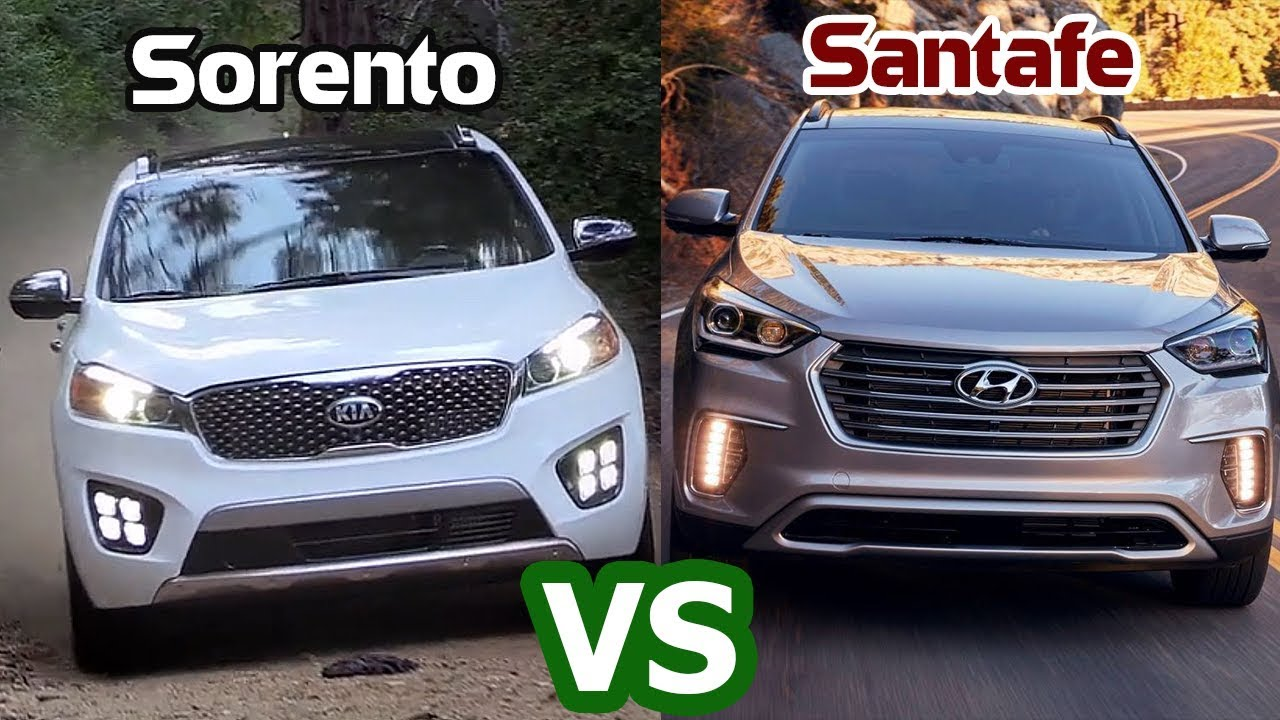 2018 hyundai santa fe vs 2018 kia sorento comparison. Black Bedroom Furniture Sets. Home Design Ideas
