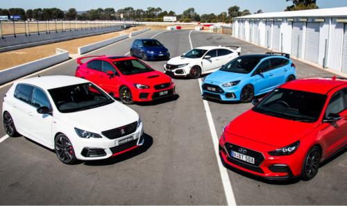 2018 Hot Hatch Mega Test Face-off: Ford Focus RS, Honda Civic Type R, Hyundai i30 N, Peugeot 308 GTi, Subaru WRX STI, Volkswagen Golf R