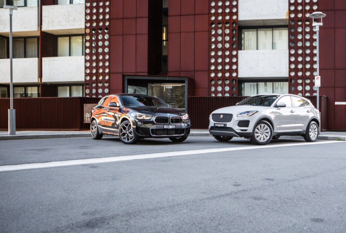 2018 BMW X2 v Jaguar E-Pace comparison : BMW's front-wheel-drive X2 sDrive20i takes on Jag's all-paw E-Pace S P250