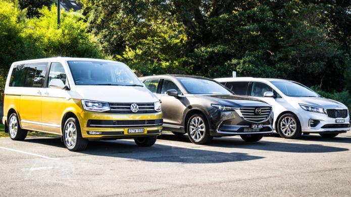 2018 Kia Carnival v Mazda CX-9 v Volkswagen Multivan Kombi 70 comparison