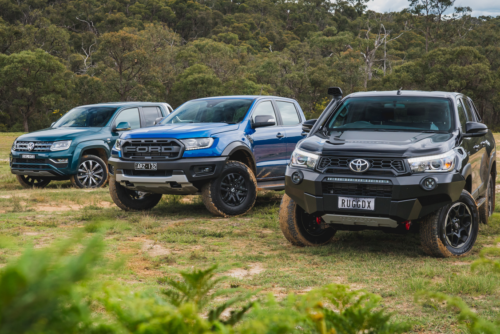 Ford Ranger Raptor v Toyota HiLux Rugged X v Volkswagen Amarok Ultimate TDI580 comparison