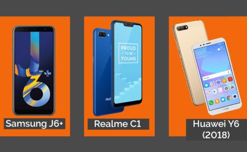 Samsung Galaxy J6+ VS Huawei Y6 2018 VS Realme C1 Comparison