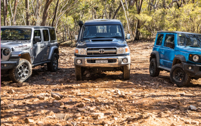 2019 Jeep Wrangler Rubicon v Toyota LandCruiser v Suzuki Jimny off-road comparison