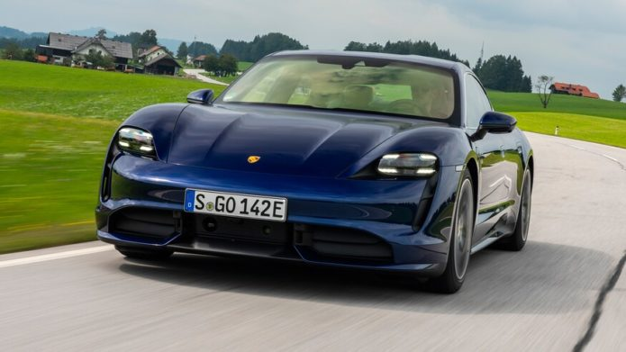 2020-Porsche-Taycan-Turbo-S-front-three-quarter-in-motion-1