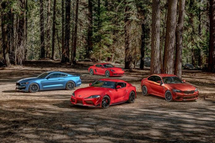 2020 Toyota Supra vs. BMW M2 vs. Ford Mustang Shelby GT350 vs. Porsche 718 Cayman Comparison
