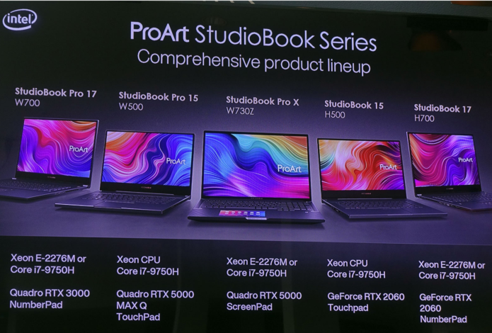 Asus announces Proart StudioBook lineup: One, X W730Z, W/H700 and W/H500