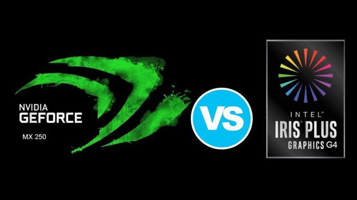 NVIDIA GeForce MX250 (10W) vs Intel Iris Plus G4 – despite its lower TDP the 10W GPU is almost two times faster