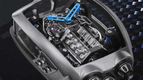 This Bugatti Chiron Tourbillon by Jacob & Co. has a working W16 engine design