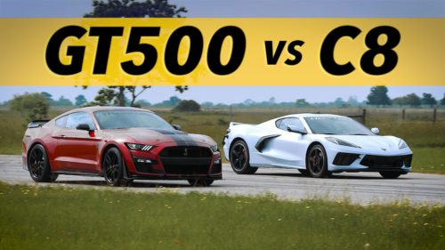 Watch C8 Corvette Take On GT500 Mustang, Hellcat Charger on Dragstrip