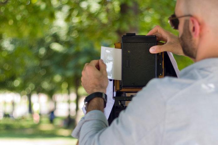 The LomoGraflok 4x5 Instant Back lets you capture Instax Wide images with large format cameras