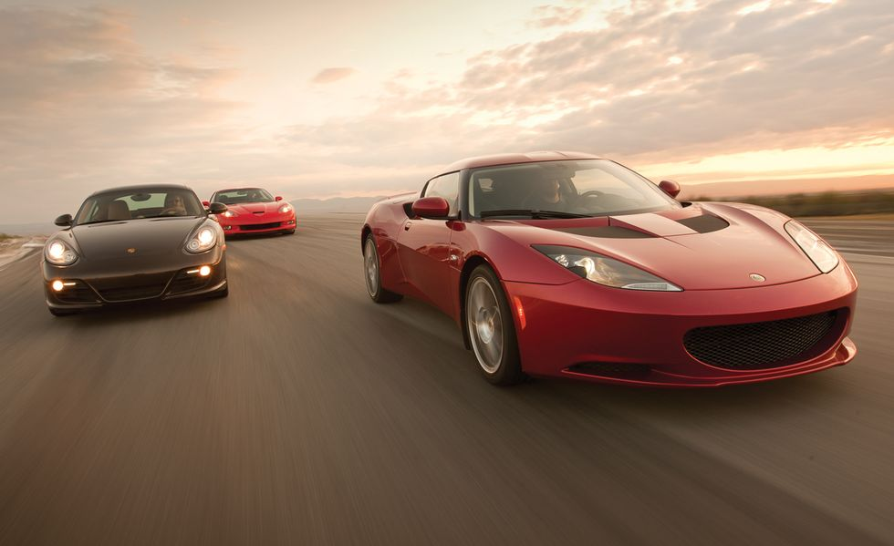 Tested: 2010 Chevy Corvette vs. Lotus Evora vs. Porsche Cayman