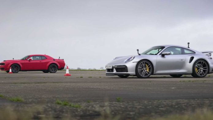 Watch: Dodge Demon Doesn't Stand a Chance vs. Porsche 911 Turbo S in a Drag Race