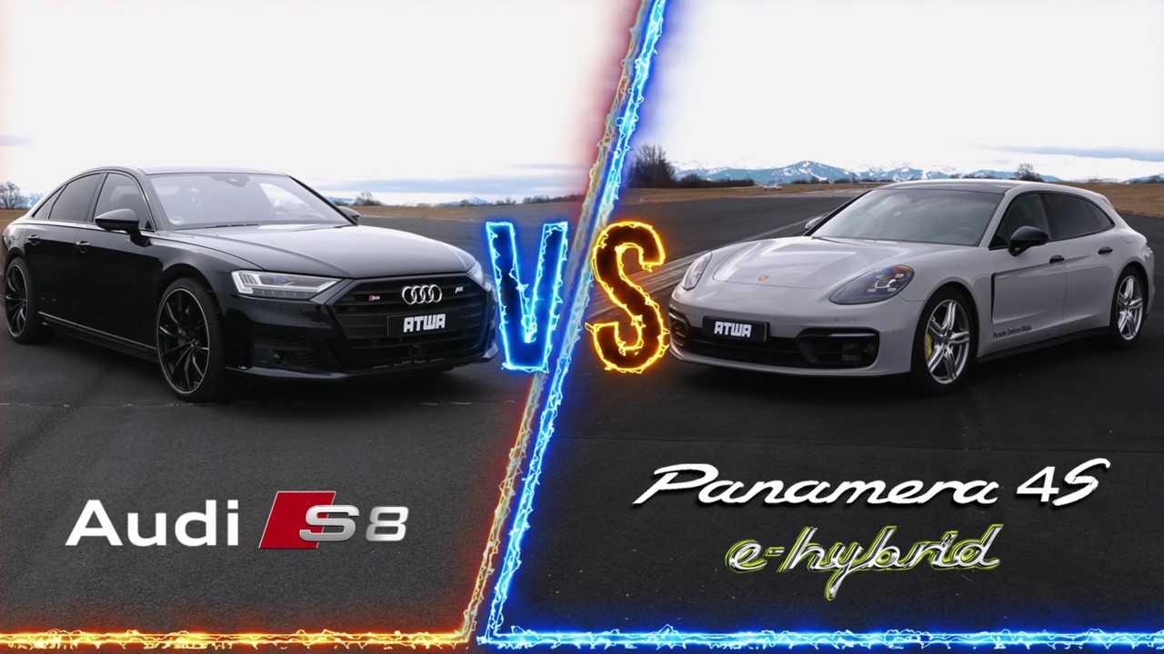 Audi S8 Vs Porsche Panamera 4S E-Hybrid Drag Race Has Undisputed Winner