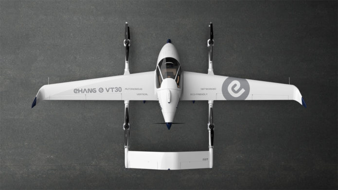 EHang long-range VT-30 autonomous aerial vehicle takes off and lands vertically