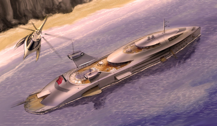 130m Mad Max superyacht concept harnesses recycled jet engines