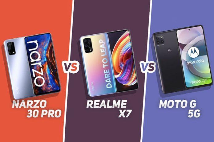 Narzo 30 Pro 5G vs Moto G 5G vs Realme X7