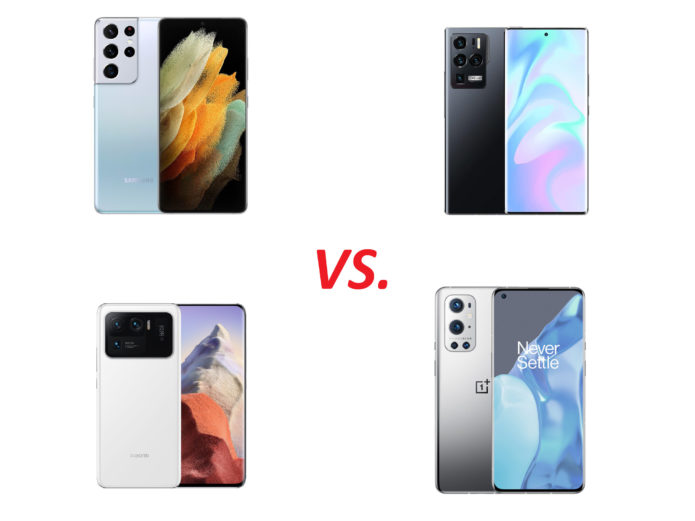Samsung Galaxy S21 Ultra, Xiaomi Mi 11 Ultra, OnePlus 9 Pro, and ZTE Axon 30 Ultra.