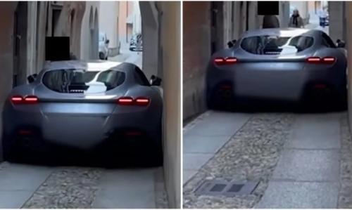 Someone Got Their Ferrari Roma Stuck in an Italian Alleyway