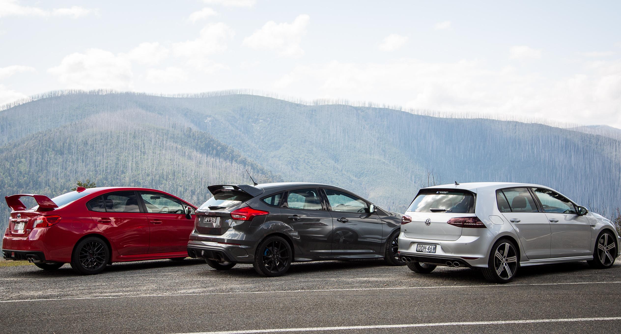 Ford Focus RS v Subaru WRX STI v Volkswagen Golf R