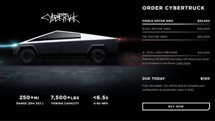 Tesla Cybertruck configurator