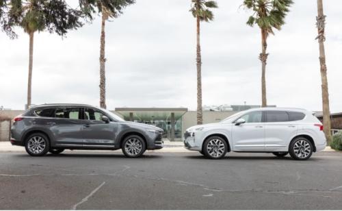 2021 Hyundai Santa Fe Highlander v Mazda CX-8 GT comparison