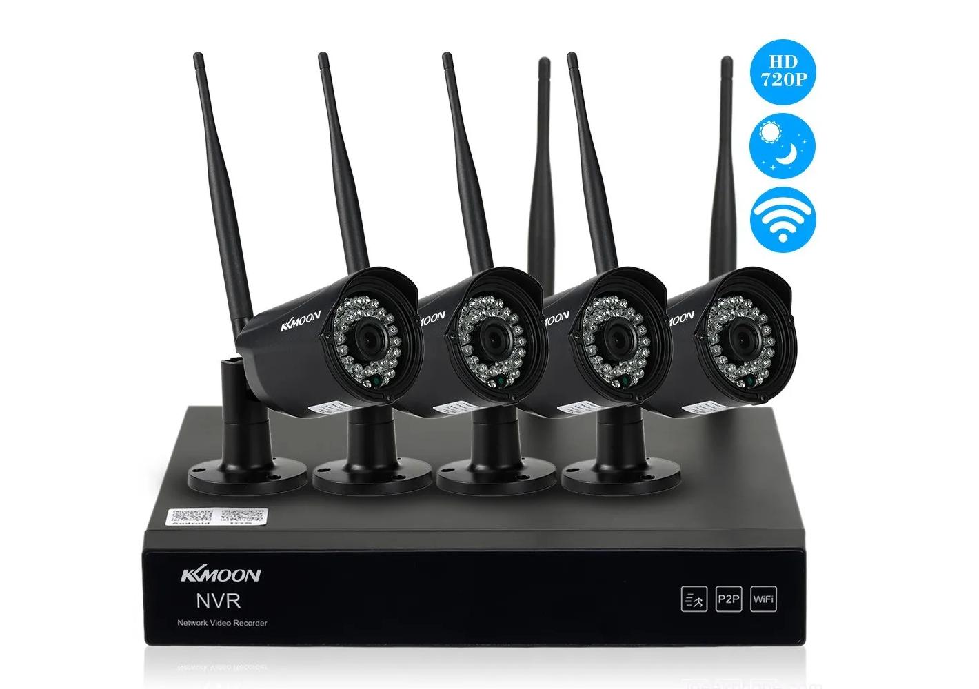 KKmoon 4 Channel HD 720P Wireless WiFi NVR Camera